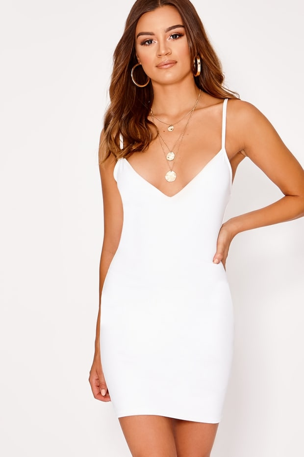 BASIC WHITE SCUBA PLUNGE BODYCON DRESS
