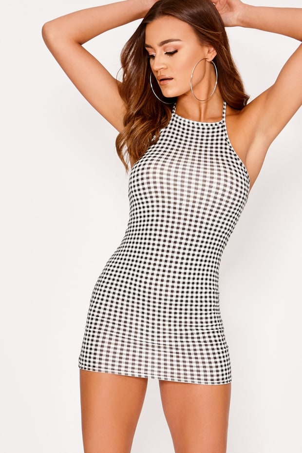 FEYA BLACK GINGHAM JERSEY HALTERNECK BODYCON DRESS