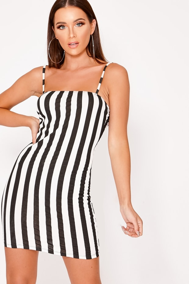 78d3f1e082 Elske Black Striped Jersey Square Neck Bodycon Dress