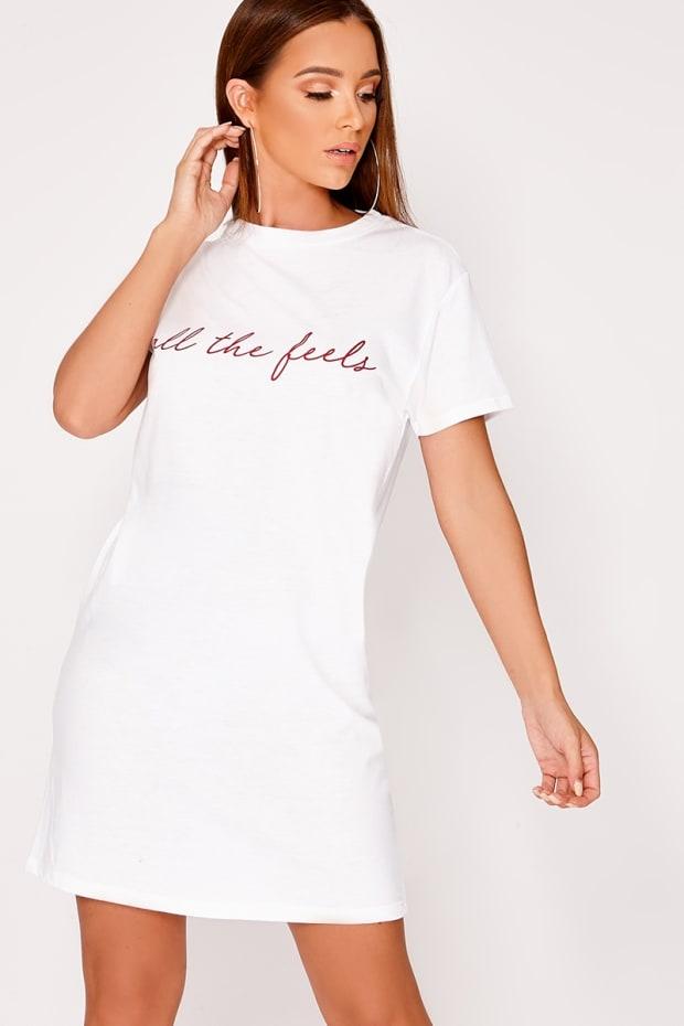 ALL THE FEELS WHITE T SHIRT DRESS