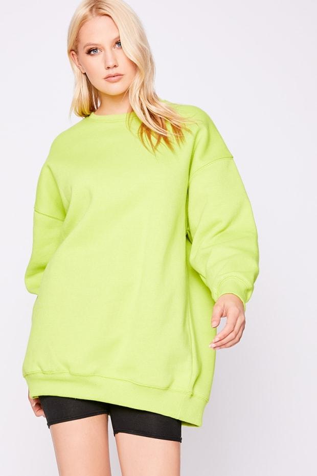 1058366d87d Beryan Lime Oversized Sweater Dress