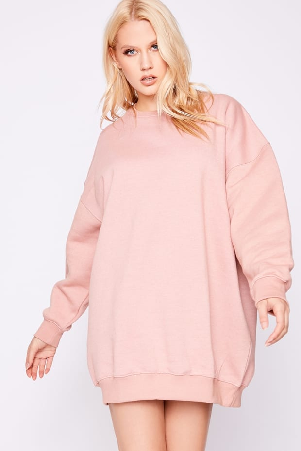 144029cf04 Beryan Pink Oversized Sweater Dress