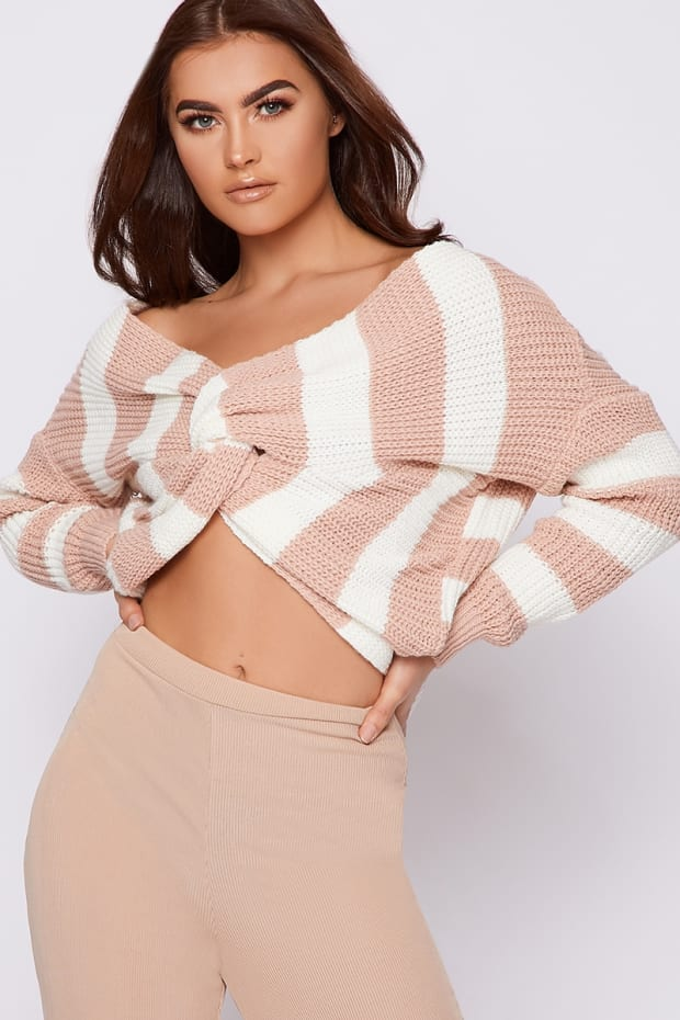 JAYA CREAM AND NUDE STRIPE TWIST BACK JUMPER