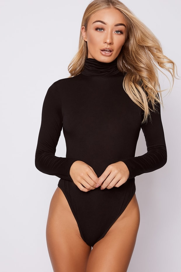 BASIC BLACK ROLL NECK LONG SLEEVED BODYSUIT