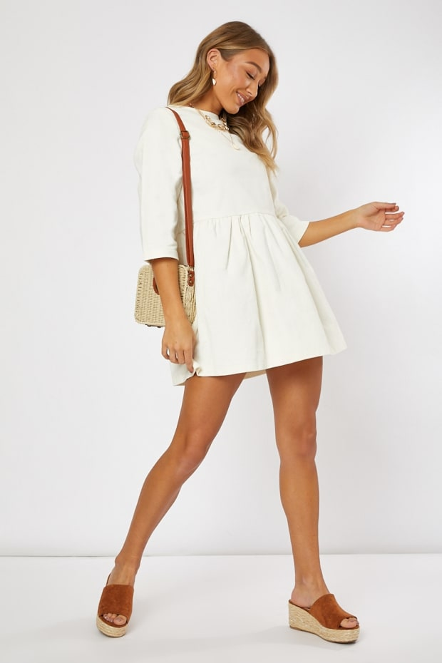 3b8bd9185 Addilyne Ivory Cord Smock Mini Dress