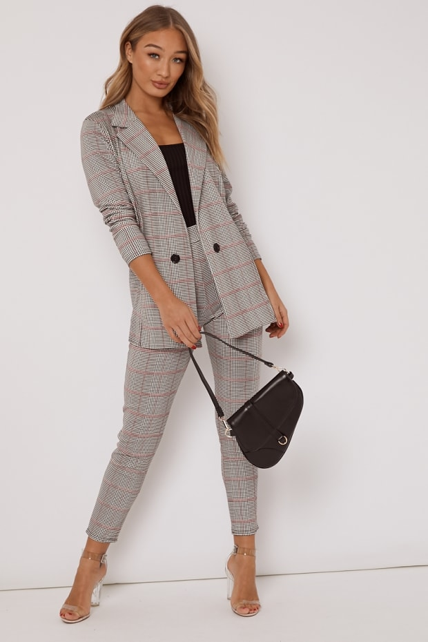 KATE BLACK AND PINK DOGTOOTH CHECK TROUSERS