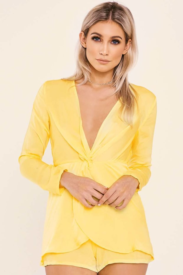 AYLA YELLOW TWIST FRONT PLUNGE PLAYSUIT