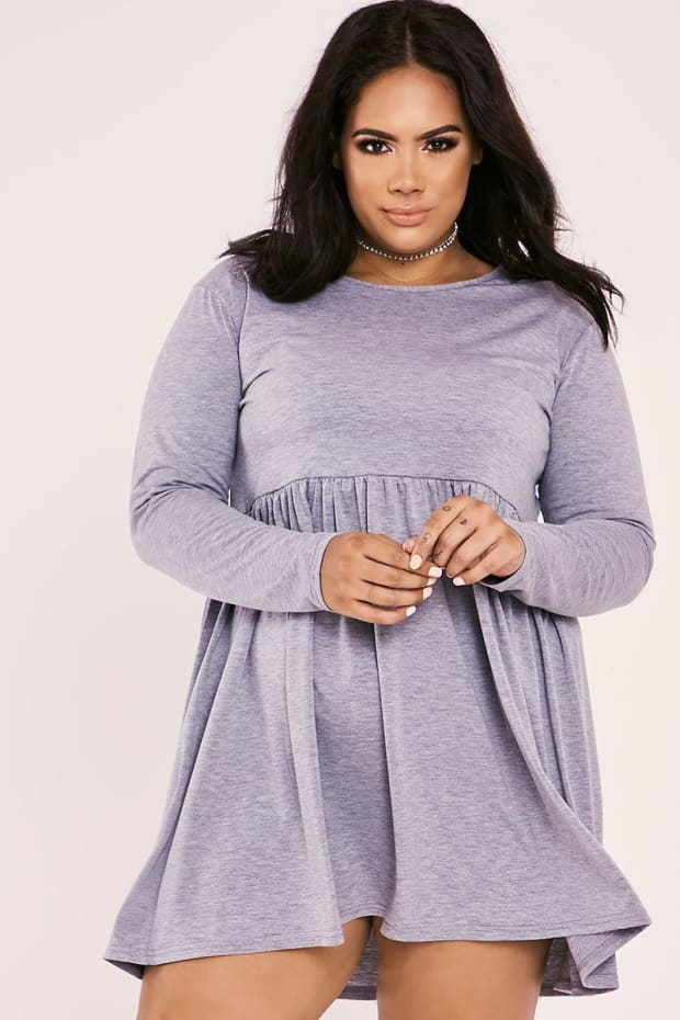 CURVE MARIEE GREY JERSEY SMOCK SKATER DRESS