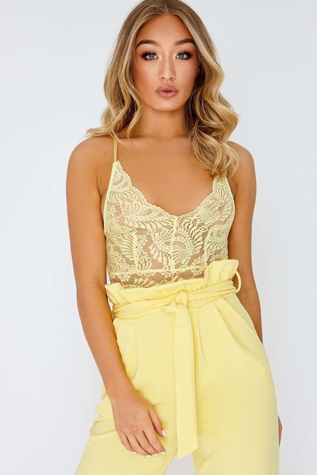 KRISTELLA LEMON LACE BODYSUIT