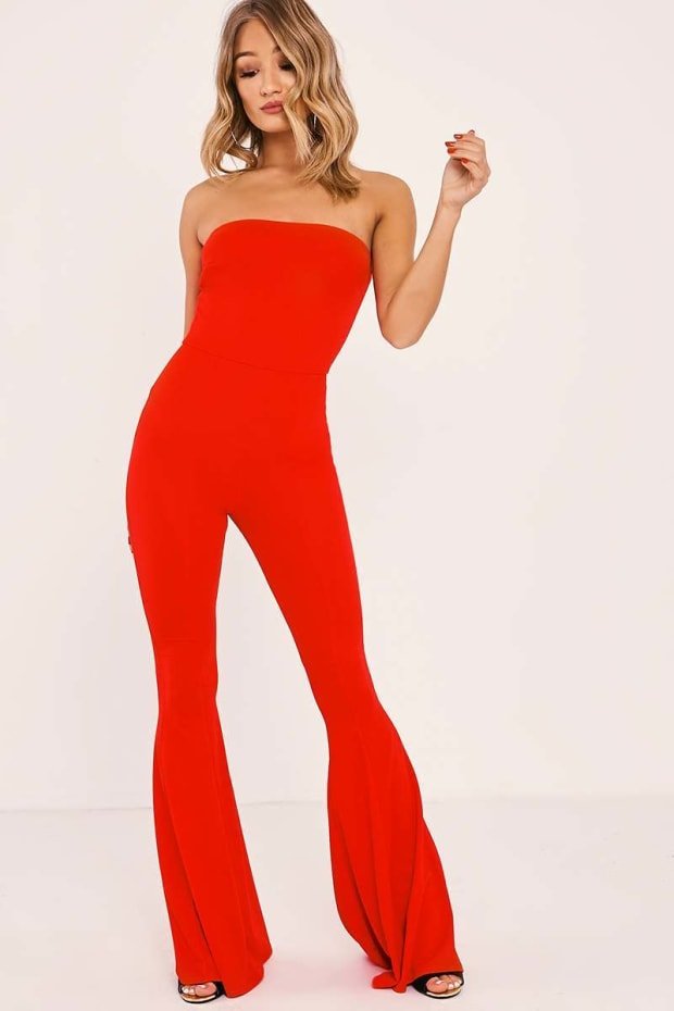 ROSELEE RED BANDEAU FLARED LEG JUMPSUIT