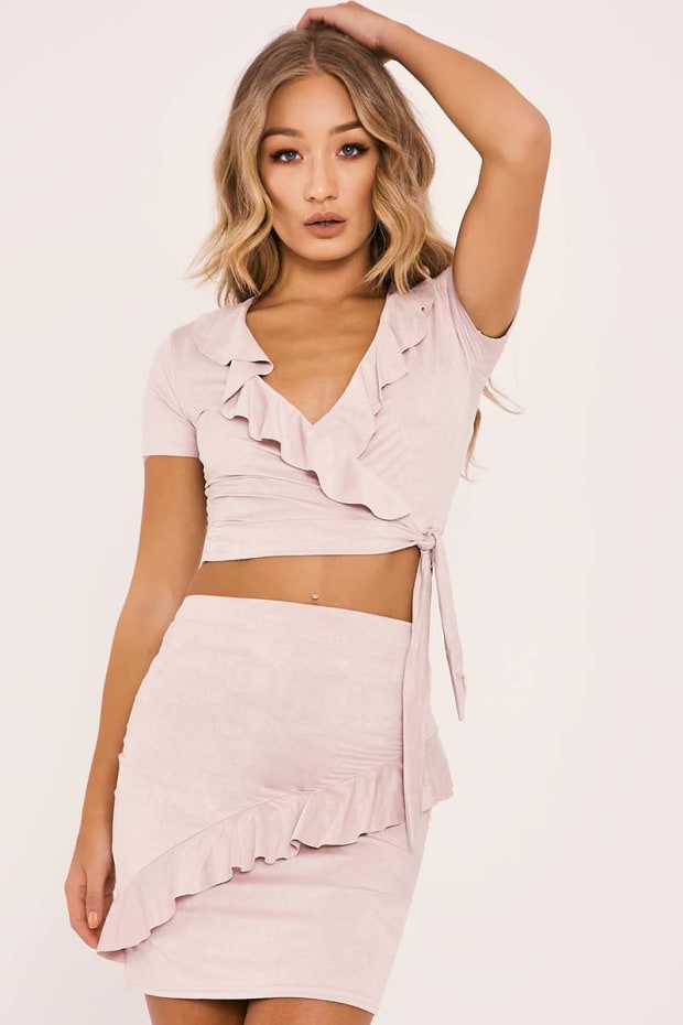 LISSA STONE FAUX SUEDE FRILL WRAP OVER TOP AND SKIRT CO ORD
