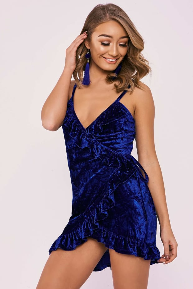 CAMILE COBALT CRUSHED VELVET WRAP OVER MINI DRESS