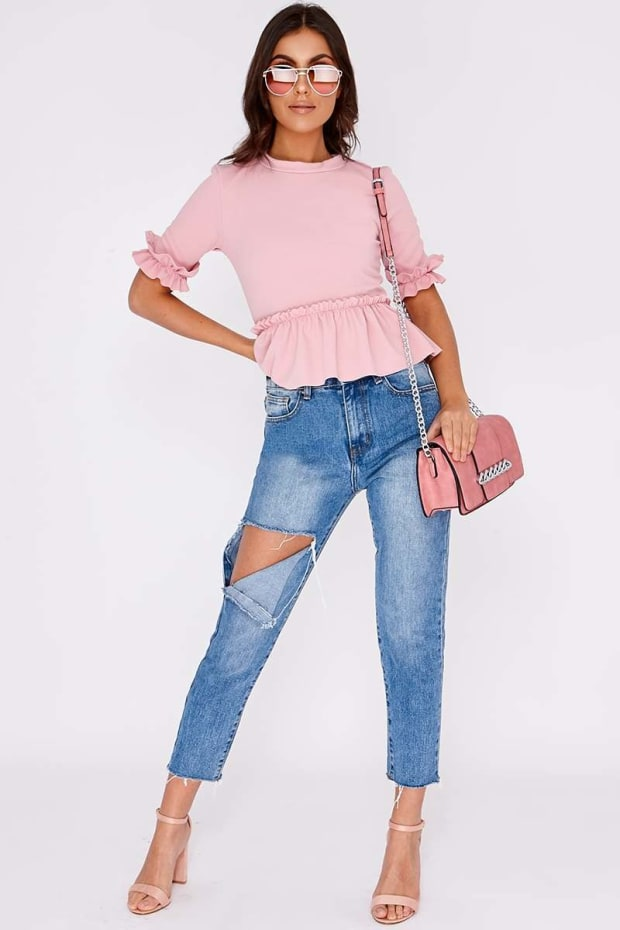 BETHIA LIGHT WASH HIGH WAISTED DISTRESSED MOM JEANS