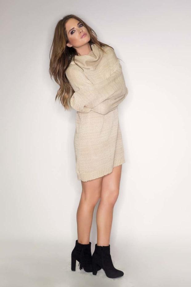 Binky Sand Cowl Neck Jumper Dress