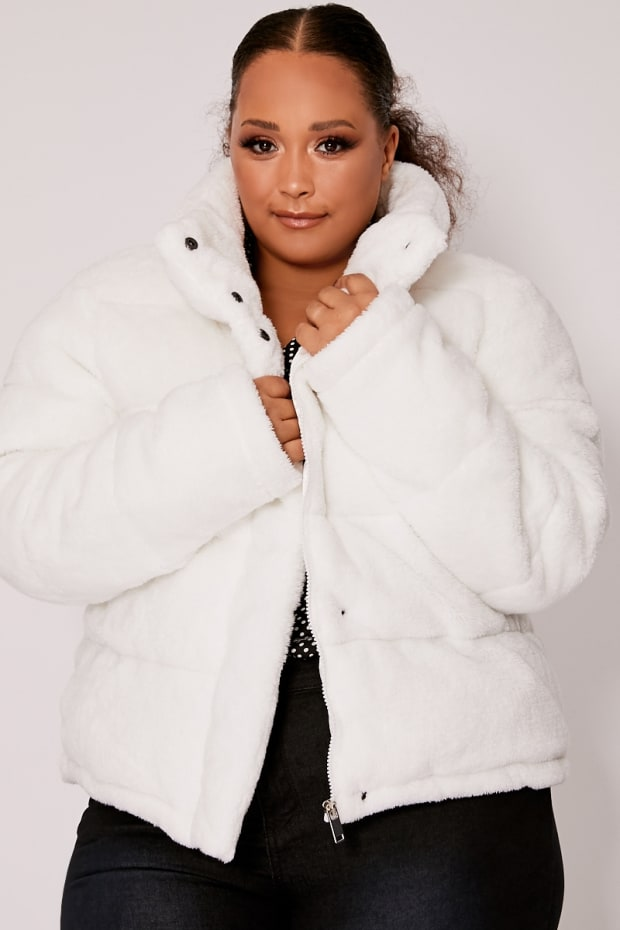 CURVE HAYLI WHITE CROPPED FAUX  FUR PADDED PUFFER JACKET