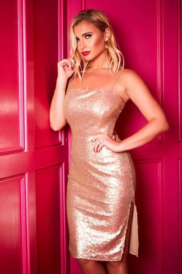 BILLIE FAIERS GOLD SEQUIN STRAPPY SIDE SPLIT MIDI DRESS