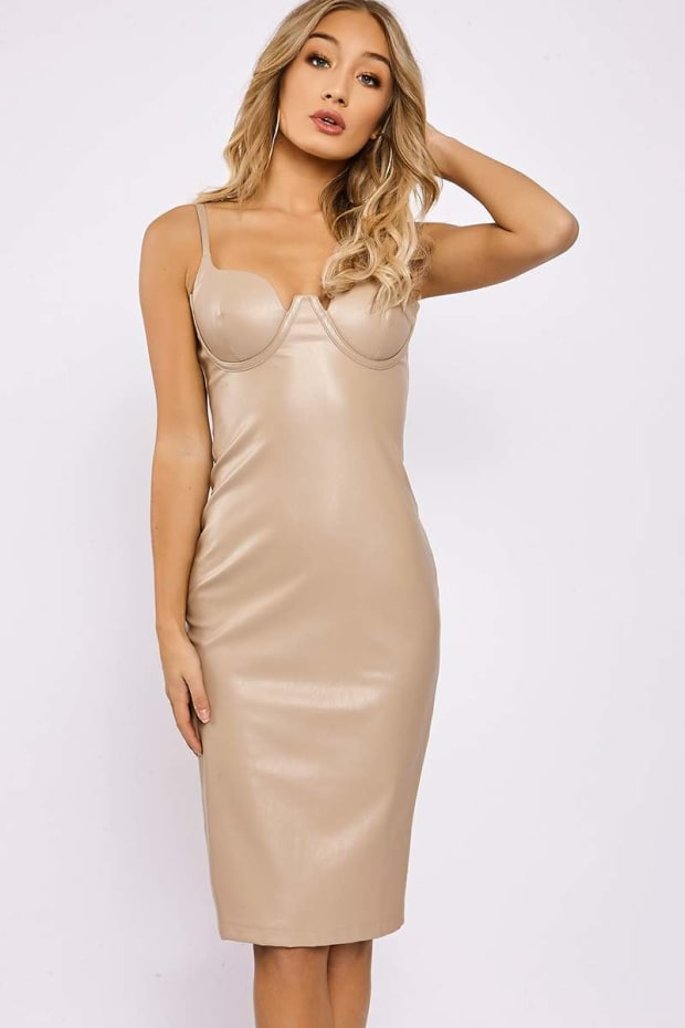 KYNDELL NUDE FAUX LEATHER CUPPED BODYCON MIDI DRESS