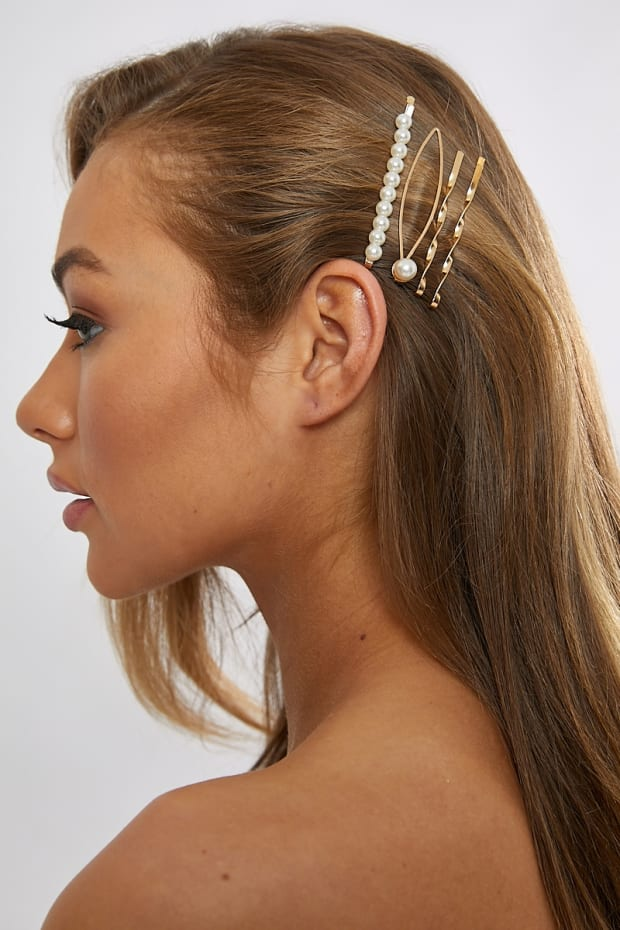 MULTI PACK SMALL PEARL HAIR SLIDES