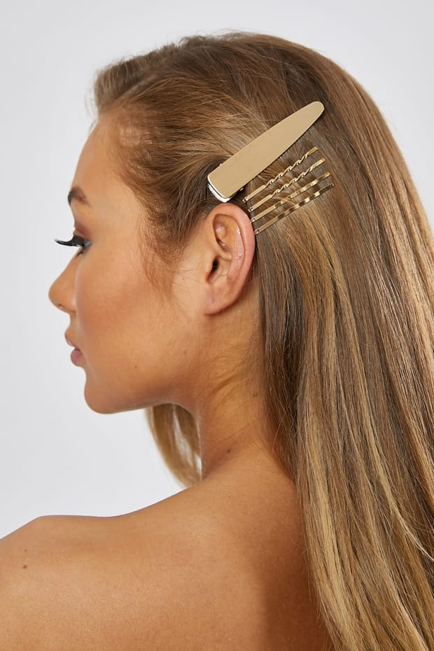 MULTI PACK GOLD HAIR SLIDES