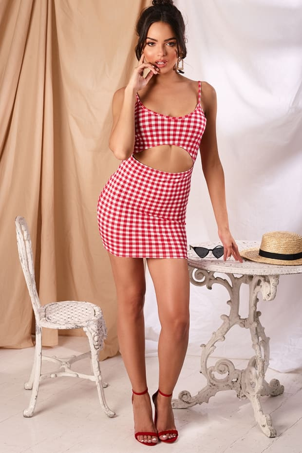JABELLA RED GINGHAM CUT OUT MIDDLE MINI DRESS