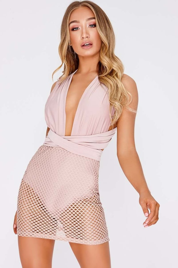 JAMEELA PINK FISHNET MULTIWAY PLUNGE MINI DRESS