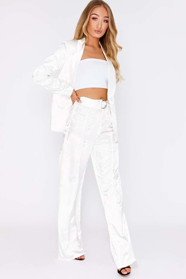 JAZZLYN WHITE SATIN D RING WIDE LEG TROUSERS