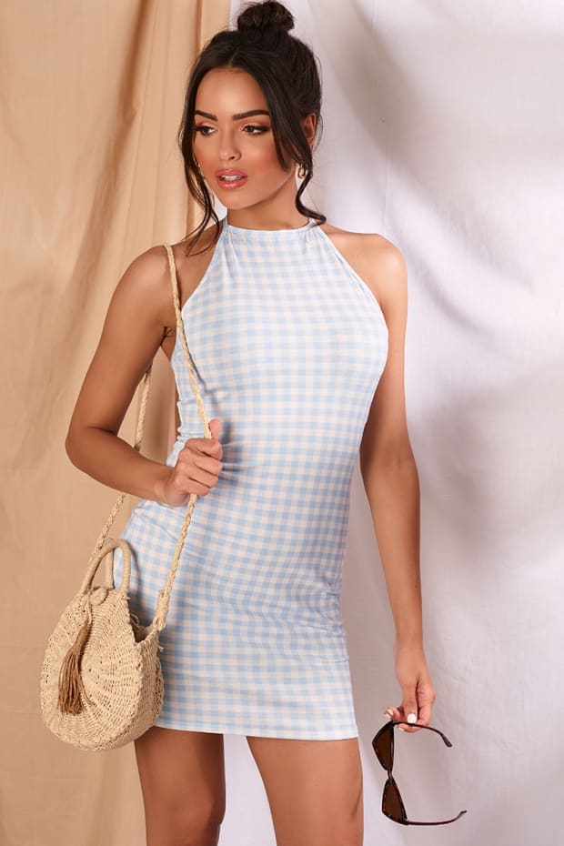 JOUANNA BLUE GINGHAM 90'S NECK MINI DRESS