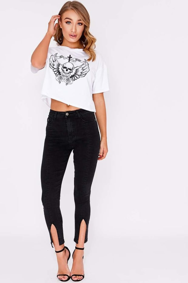 BRIN BLACK HIGH WAISTED SPLIT HEM SKINNY JEANS