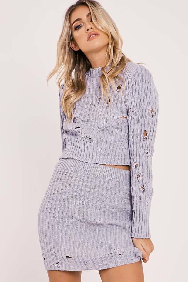 IVEY GREY DISTRESSED KNIT TOP AND SKIRT