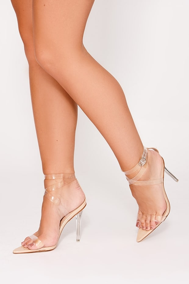 VALARIA NUDE CLEAR STRAPPY POINTED DETAIL HEELS