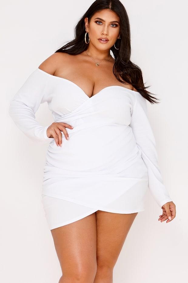 CURVE LATECIA WHITE WRAP FRONT BARDOT MINI DRESS