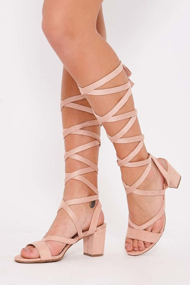 PEPI PINK FAUX SUEDE LACE UP OPEN TOE HEELED SANDALS
