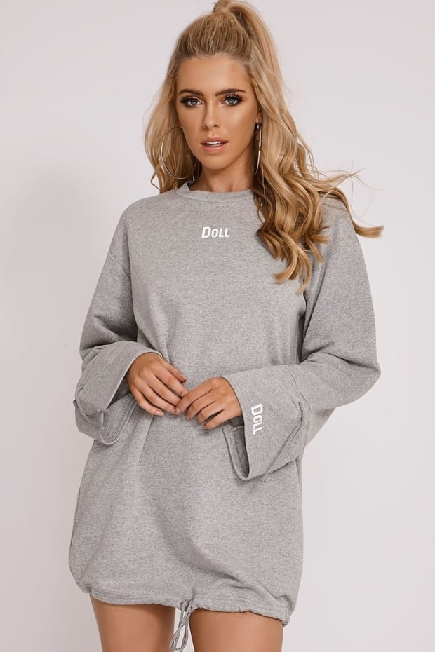 OLIVIA ATTWOOD GREY 'DOLL' OVERSIZED WIDE SLEEVE JUMPER DRESS