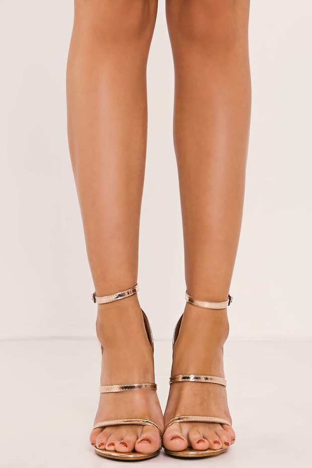 CINDER ROSE GOLD STRAPPY HEELS