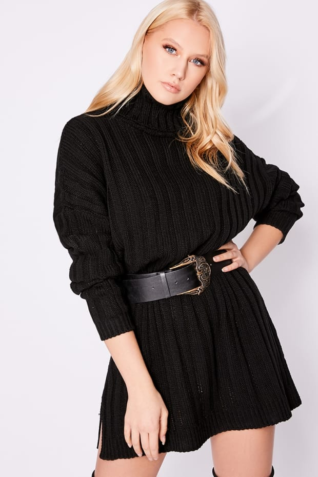 755b3c686 LAURA JADE BLACK OVERSIZED CHUNKY KNITTED JUMPER DRESS WITH SIDE SPLITS. 1