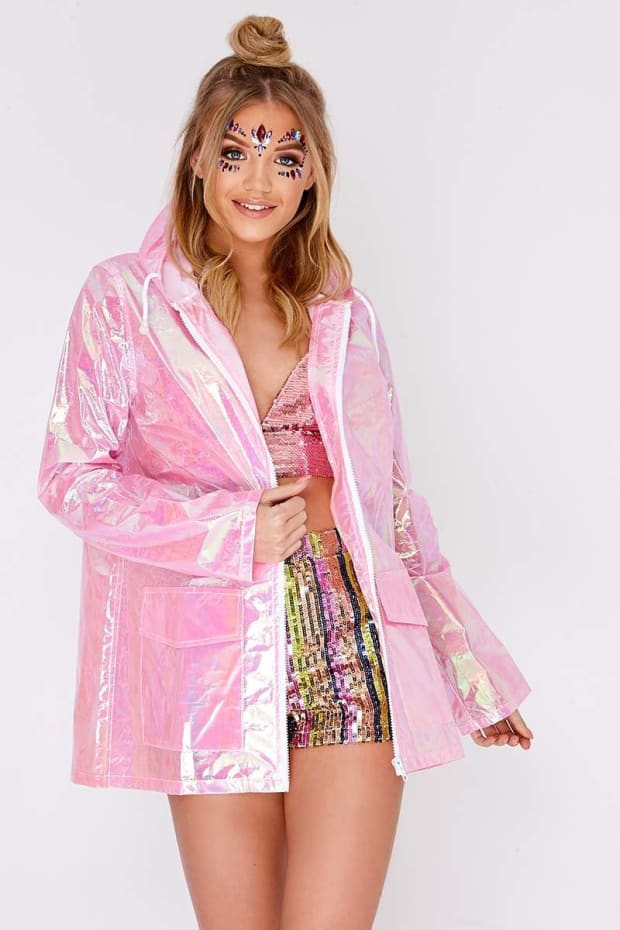 KAISLEY PINK HOLOGRAPHIC RAIN MAC