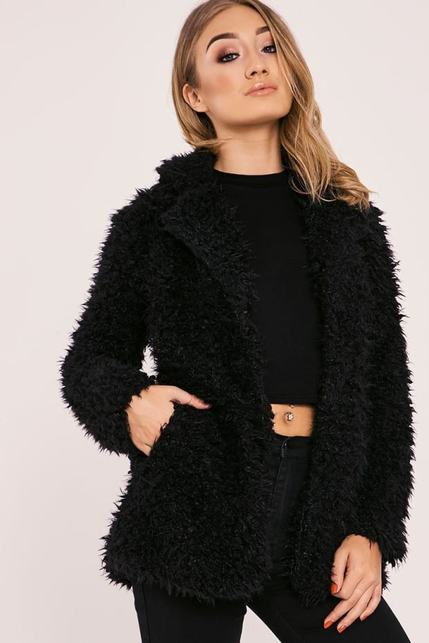 JAZEL BLACK FLUFFY LONGLINE COAT