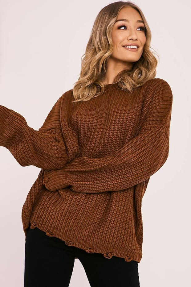 JAYNA RUST DISTRESSED OVERSIZED KNITTED JUMPER