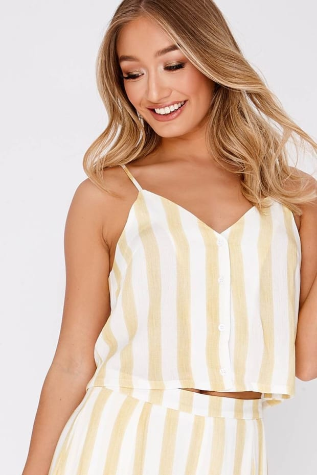 JAMELLE YELLOW STRIPE BUTTON FRONT CAMI TOP