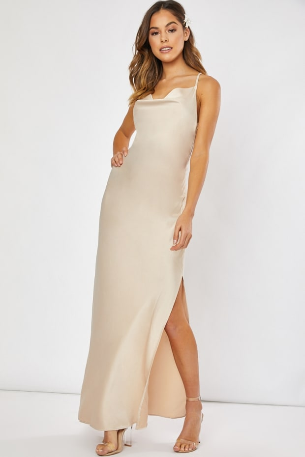 fb77048bc11 WAVERLY GOLD SATIN COWL NECK CROSS BACK MAXI DRESS. Play Hide