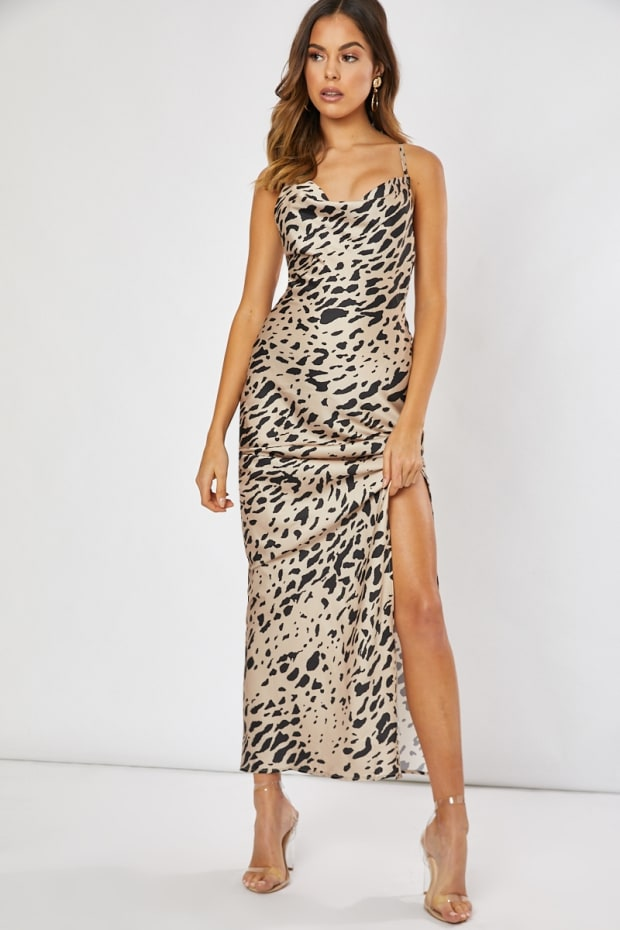 39515e26f96 Waverly Gold Leopard Satin Cowl Neck Maxi Dress