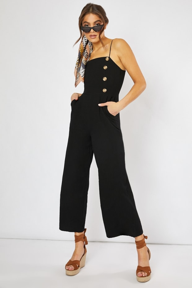 BAJAH BLACK HORN BUTTON CULOTTE JUMPSUIT
