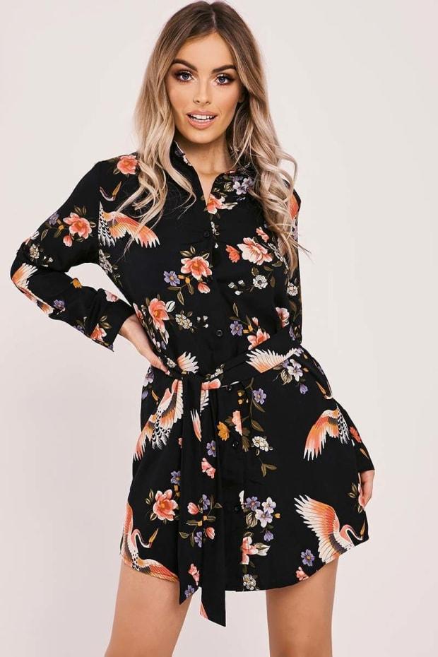 CLIA BLACK TIE WAIST FLORAL PRINT SHIRT DRESS
