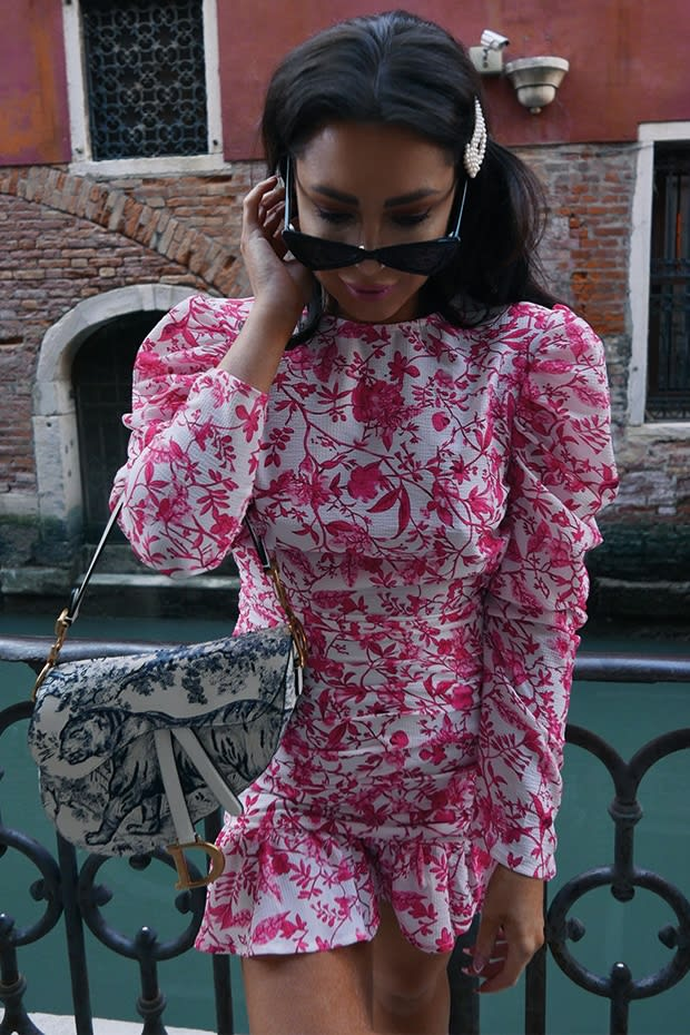 LORNA LUXE 'PRACTICALLY PERFECT' PORCELAIN ROSE MINI DRESS