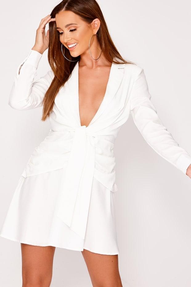 BEAU WHITE PLUNGE WRAP TIE FRONT SHIRT DRESS