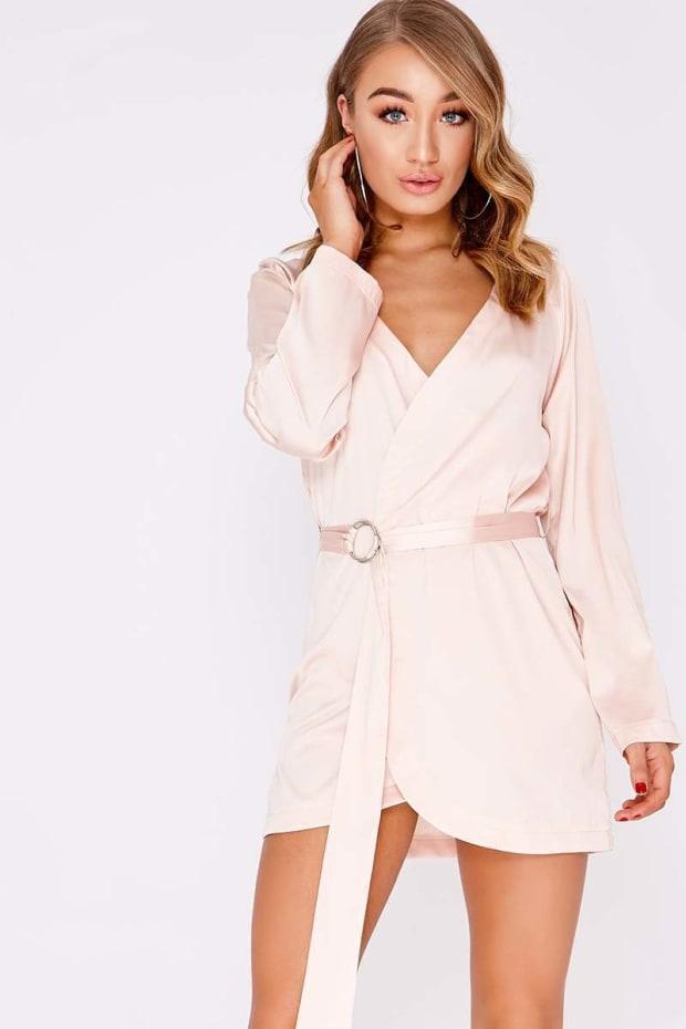 ADALYNN ROSE PINK SATIN WRAP RING DRESS