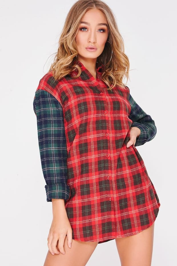 BYANCA RED CHECKED CONTRAST SLEEVE SHIRT DRESS