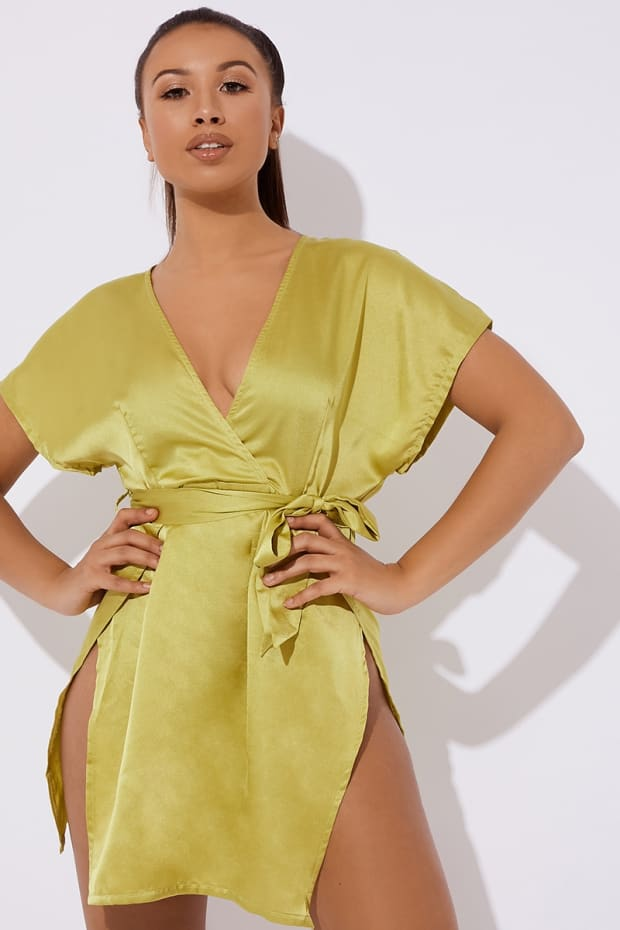 BROWYWN LIME KIMONO SLEEVE WRAP DRESS