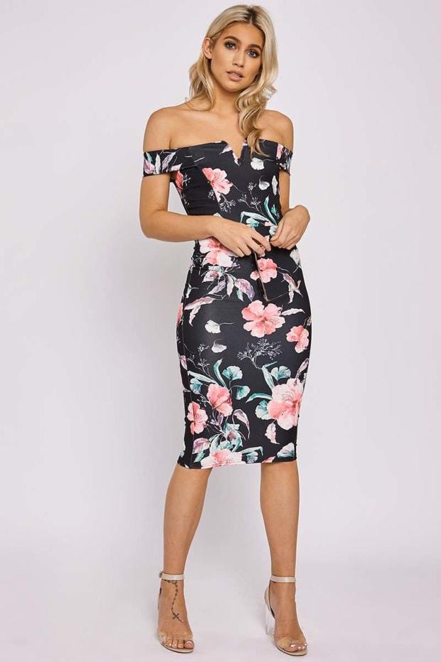 CAMBRIA BLACK FLORAL BARDOT BODYCON DRESS