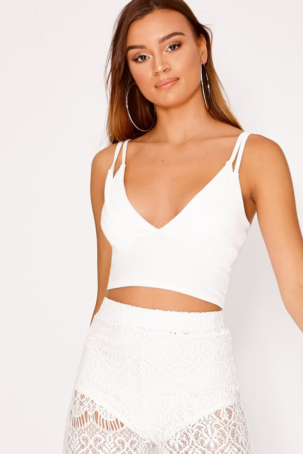 KAMBEL WHITE PLUNGE CROP TOP